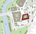 Op deze plattegrond is aangeven waar De Raadskamer moet verrijzen in het centrum van Sint-Michielsgestel: nummer 1.