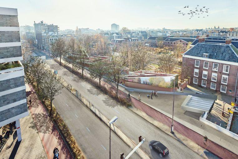 Artist's impression van het Holocaust Namenmonument Nederland in Amsterdam. Beeld