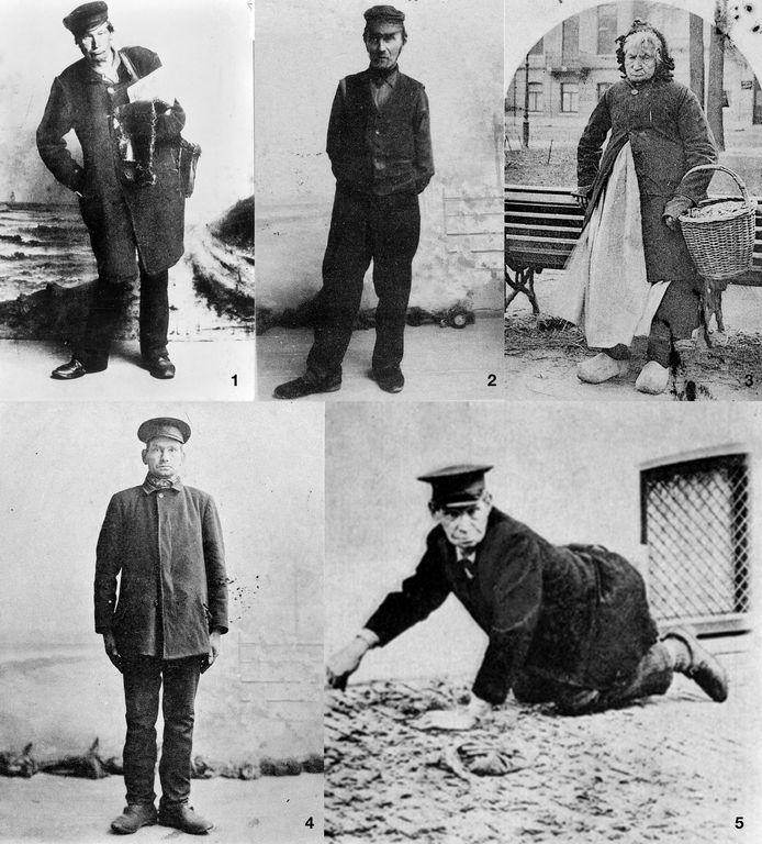 Compilatie van foto's van de vijf straattypetjes in 1900. Rechthebbende: Gelders Archief. Foto's 2 en 4: fotograaf Wilh. Moonen. Foto's 1, 3 en 5: fotograaf onbekend.