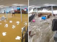 Un mur s'effondre sous la pression des inondations causées par l'ouragan Ida