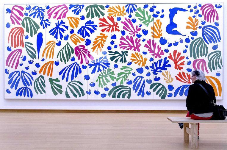 Een bezoeker kijkt naar La Perruche et la Sirene van Matisse. Beeld anp