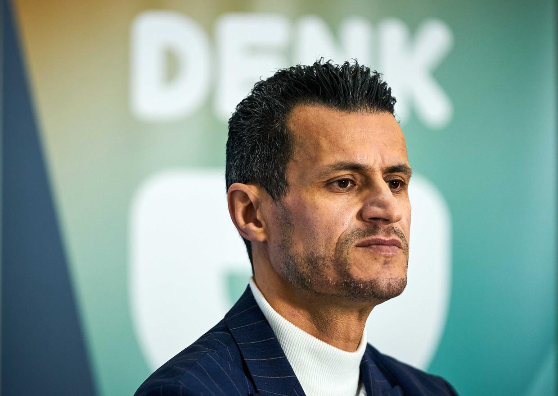 Farid Azarkan tijdens een digitale bijeenkomst van politieke partij DENK, waarbij de top-24 van de kandidatenlijst voor de Tweede Kamerverkiezingen wordt gepresenteerd.
