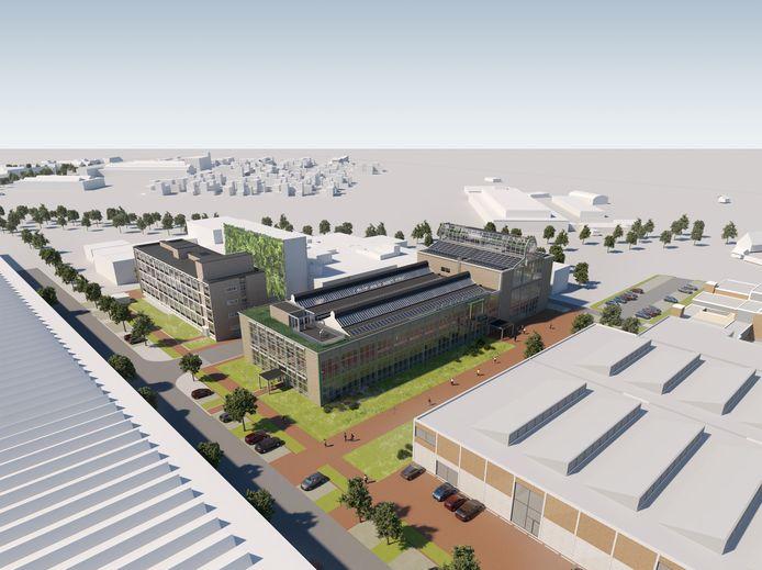 Het voormalige Glaslaboratorium van Philips op Strijp-R in Eindhoven, gebouw TY, wordt verbouwd tot bedrijfsruimte voor high tech-bedrijven.