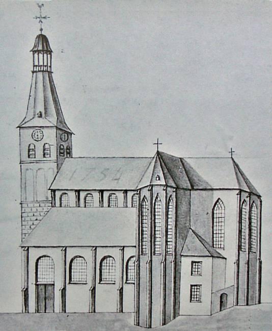 De Grote Kerk Oss op een 18e eeuwse tekening van Cornelis Pronck. Het kleine torentje werd na de brand in 1751 niet herbouwd.
