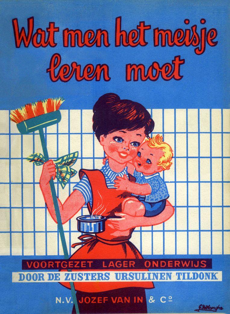 'Wat men het meisje leren moet': omslag van een schoolboek uit 1960.  Beeld AVG-Carhif, Brussel