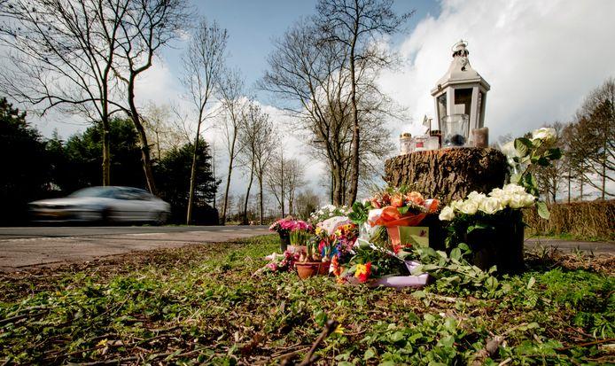 Bloemen en kaarsjes op de plek langs de Nieuw-Loosdrechtsedijk waar de 19-jarige Fleur werd doodgereden.