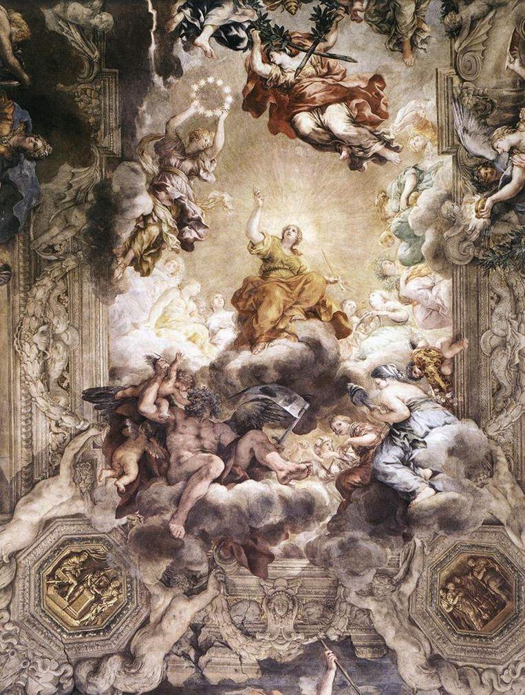 Detail uit een fresco van Pietro da Cortona in het Palazzo Barberini in Rome, met een verbeelding van de Apocalypse. Beeld Alamy Stock Photo