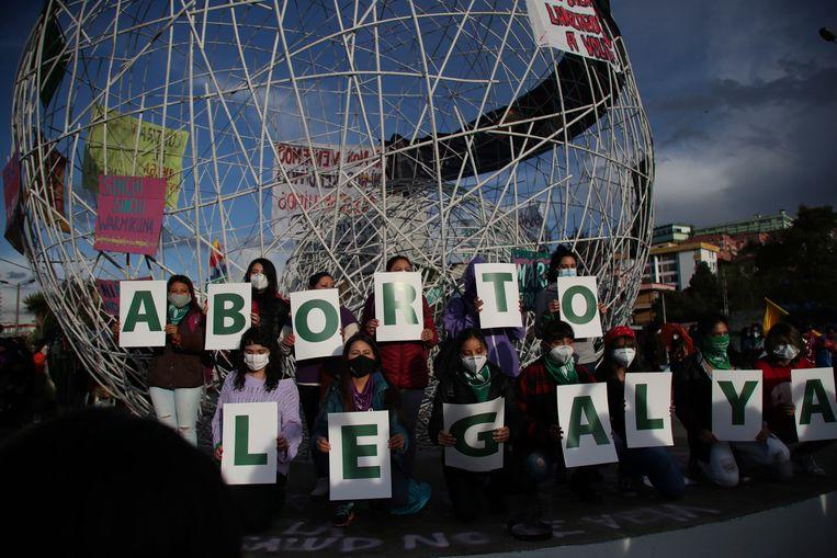 Demonstratie voor abortusrechten in de Ecuadoriaanse hoofdstad Quito, september 2020. Beeld AP
