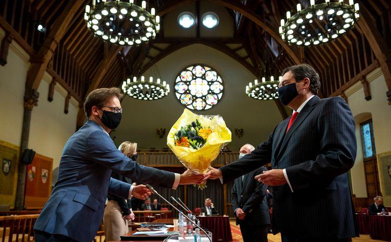 Ronald van Raak in de Eerste Kamer na afloop van de stemmingen over het correctief referendum, 26 januari 2021.  Beeld Freek van den Bergh/ de Volkskrant