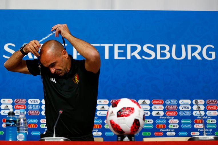 Bondscoach Roberto Martinez tijdens de persmeeting in Sint-Petersburg. Beeld Photo News