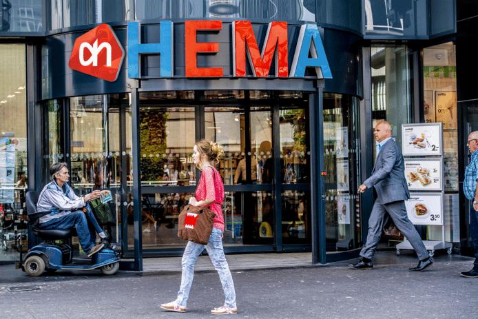 Toekomstbeeld? De logo's van zowel Hema als AH op één winkelgevel. De bedrijven benadrukken overigens dat beide namen los van elkaar blijven bestaan.