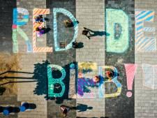 Kinderen protesteren met krijttekeningen tegen bezuiniging op Papendrechtse bieb