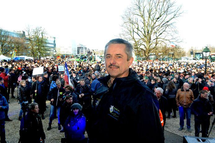 Kees Hanse in 2019 tijdens een boerenprotest in Den Haag.
