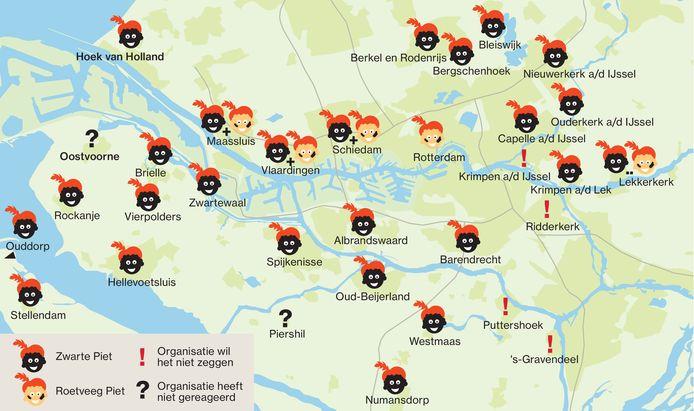 Het beeld is duidelijk: in veel kleinere gemeenten in de regio zullen Zwarte Pieten meelopen tijdens de intocht.