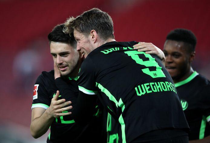 Wout Weghorst was met één goal belangrijk bij de zege van Wolfsburg.