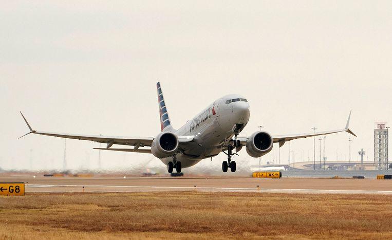 Een Boeing 737 MAX begint aan een testvlucht, eind vorig jaar in Dallas. Beeld AFP