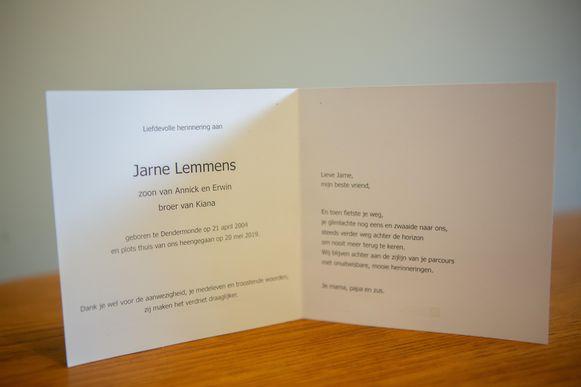 Het bidprentje van Jarne.