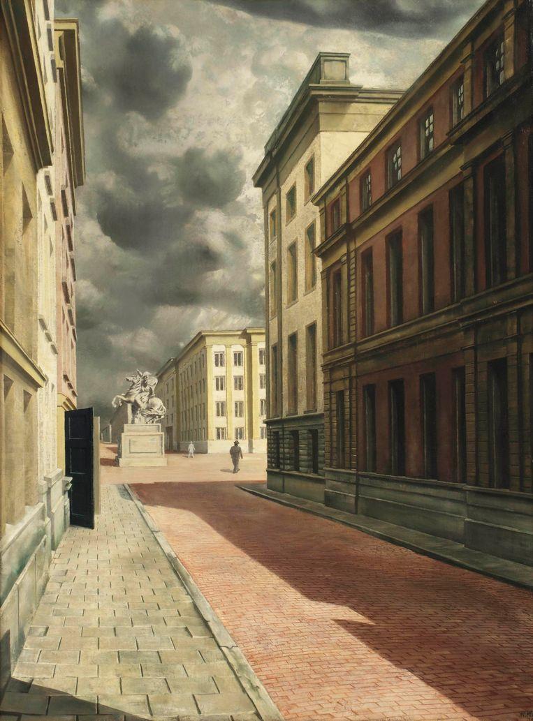 Carel Willink, 'Straat met standbeeld', 1934. Beeld rv