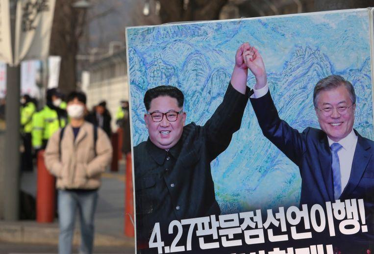 In Zuid-Korea wordt gehoopt dat een tweede top tussen Trump en Kim leidt tot verdere ontspanning tussen beide kemphanen. Zuid-Korea noemde Noord-Korea deze week in een defensierapport niet meer een 'vijand'.  Beeld AP