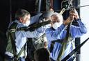Vicepresident van de Europese Commissie en Europees Buitenlandvertegenwoordiger Joseph Borrell (rechts) en de Luxemburgse minister van Defensie François Bausch tijdens een bezoek aan de Belgische luchtmachtbasis in Melsbroek gisteren.