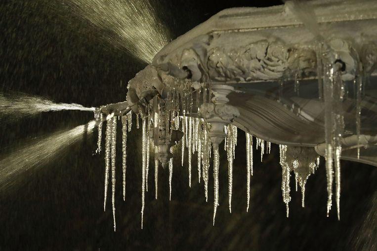 Een ijzige fontein in Savannah, Georgia.  Beeld Getty Images
