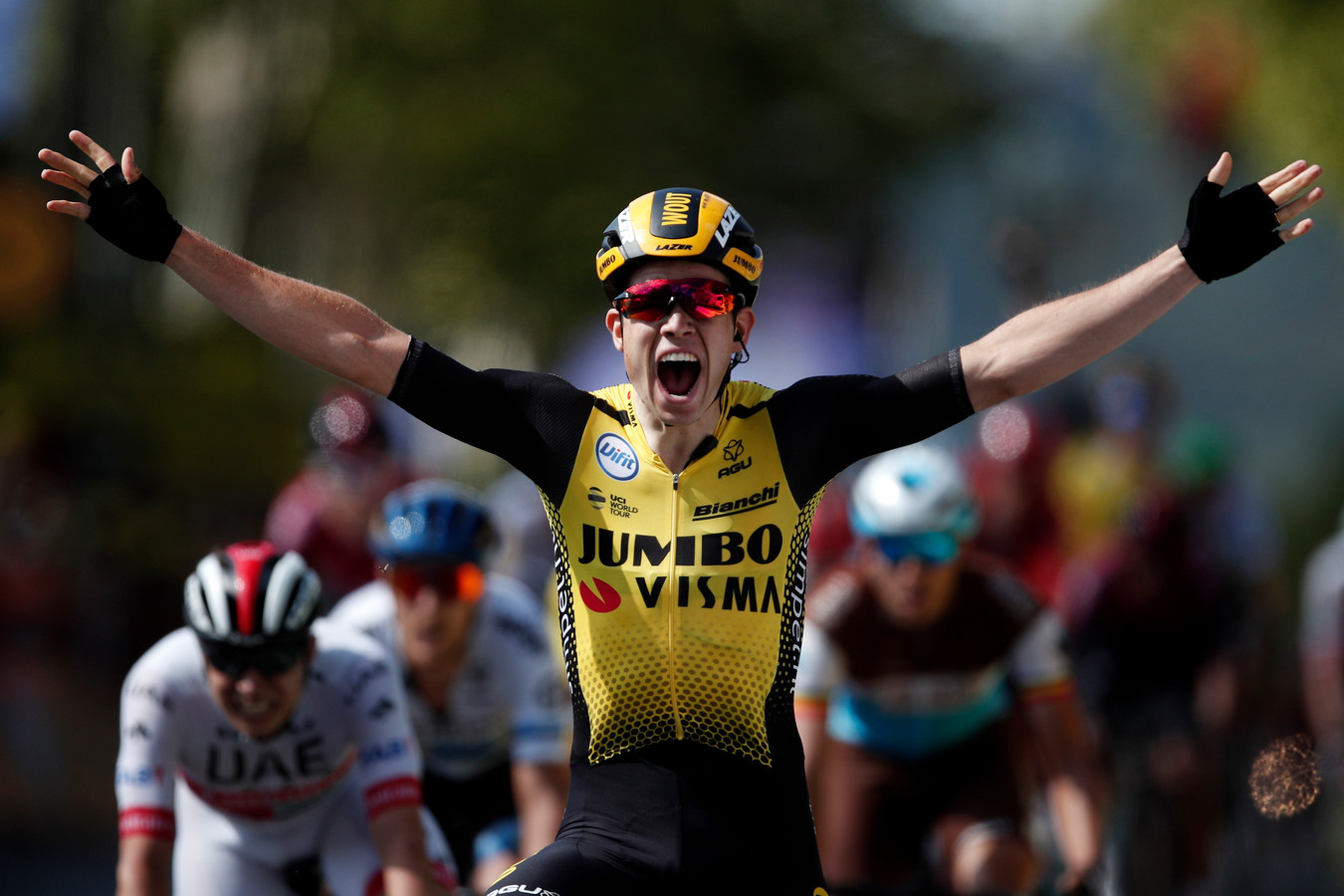 Wout van Aert wint in Albi en zorgt voor alweer de vierde dagzege van Jumbo-Visma deze Tour.