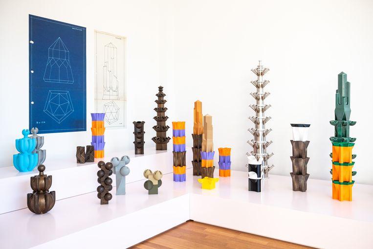 De tentoonstelling van Bas van Beek in Kunstmuseum Den Haag; volledig opgebouwd, maar helaas mag het museum nog niet open. Beeld Simon Lenskens