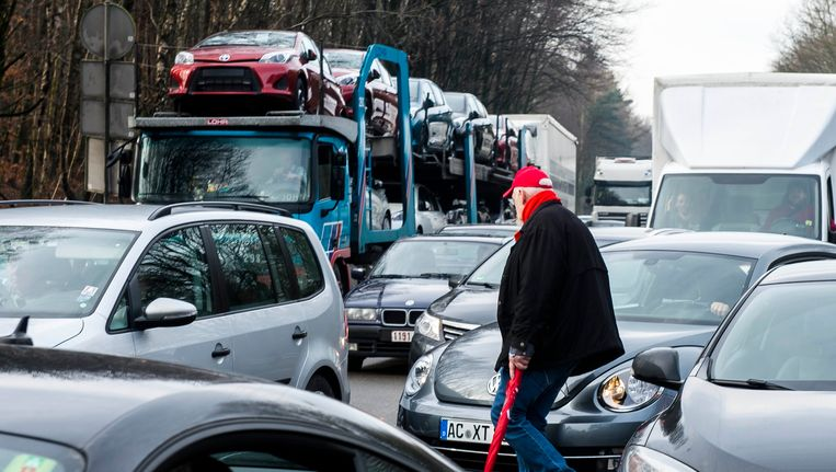 Vakbondsactie in Eynatten, de grensovergang tussen België en Duitsland (foto uit 2013). Beeld BELGA