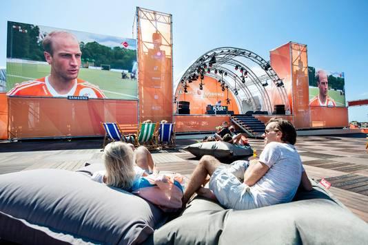 Preview van de Olympic Experience. Op het terrein kunnen sportfans de wedstrijden tijdens de Olympische Spelen in Rio op grote schermen volgen.