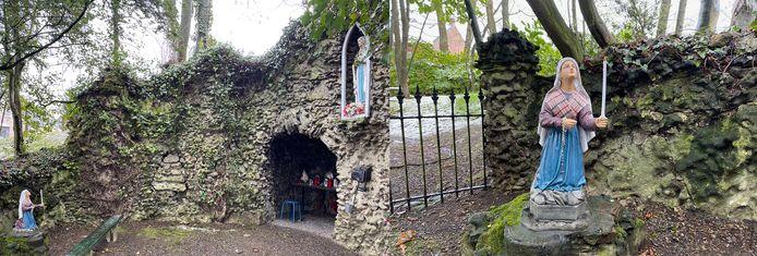 Er staat weer een beeld van Bernadette in de Lourdesgrot.