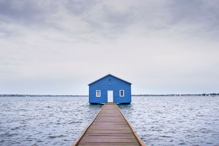 Het boothuis The Crawley Edge Boatshed in Australië. Beeld Accidentally Wes Anderson