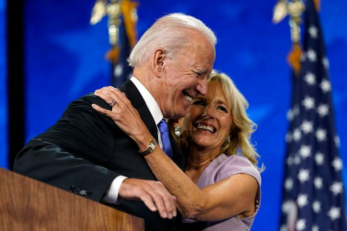 Toekomstige first lady Jill Biden met haar man, toekomstig president van de Verenigde Staten, Joe biden.