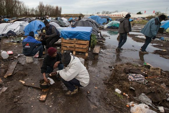 Een kamp in Calais, waar migranten slapen in afwachting om het Verenigd Koninkrijk te bereiken.
