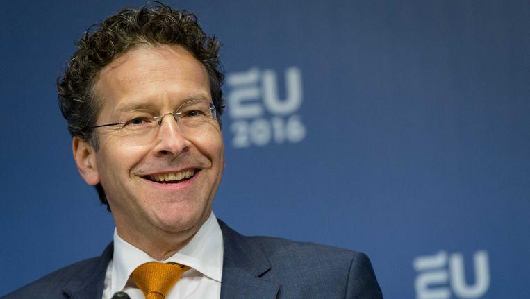 Eurogroepvoorzitter Jeroen Dijsselbloem na afloop van het overleg met de ministers van Financiën van de eurozone in het Amsterdamse Scheepvaartmuseum. Beeld EPA