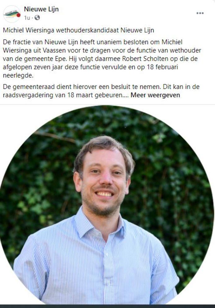 Michiel Wiersinga wordt door zijn partij Nieuwe Lijn in Epe voorgedragen als opvolger van de opgestapte wethouder Robert Scholten.