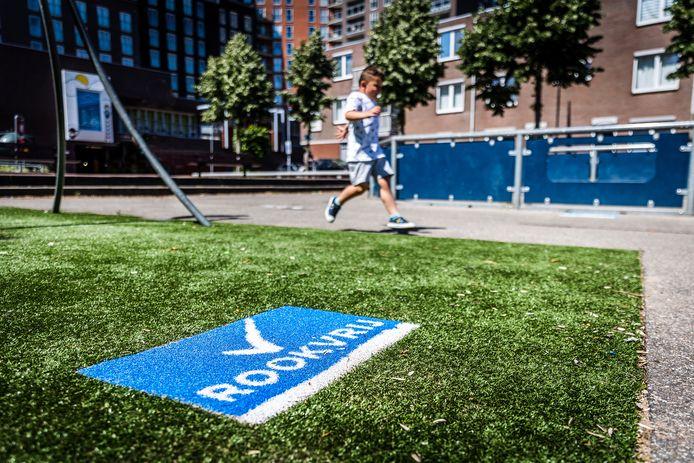 Op steeds meer speelplaatsen in Dordrecht verschijnt een rookvrij-logo.