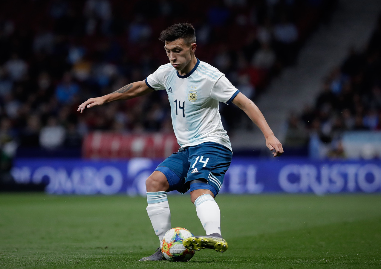 L Martínez tijdens zijn voorlopig enige interland voor Argentinië, tegen Venezuela.