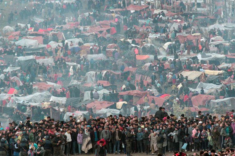 Vluchtelingen uit Kosovo in Servië, 1999. Beeld Sygma via Getty Images