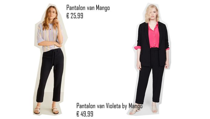 Pantalon van Mango die € 25 meer kost voor vollere vrouwen.