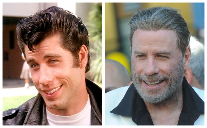 Links: John Travolta in 'Grease'. Rechts: John gisteren in New York.