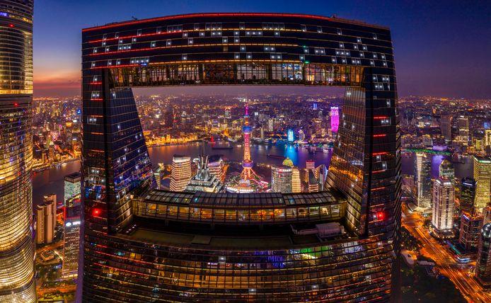 Een dronebeeld van het financiële district in Shangai.