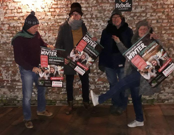 De organisatoren van de Winterhappening in Denderbelle.