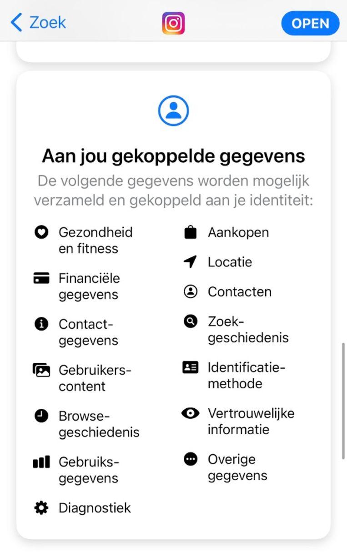 Deze week heeft Apple privacy-informatie toegevoegd binnen de App Store. Dit is wat er bij Facebook-dochter Instagram staat. Beeld Apple