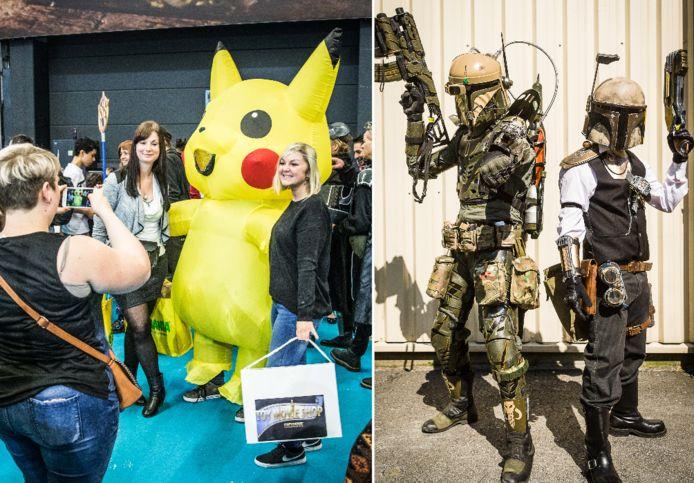 Links: Bezoekers van FACTS gaan op de foto met Pikachu. Rechts: twee 'zwaarbewapende' fans van de fantasy- en scifibeurs.