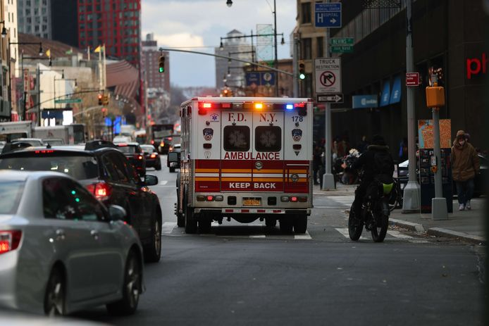 Een ambulance in Brooklyn, New York.