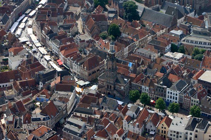 De binnenstad van Zutphen vanuit de lucht.