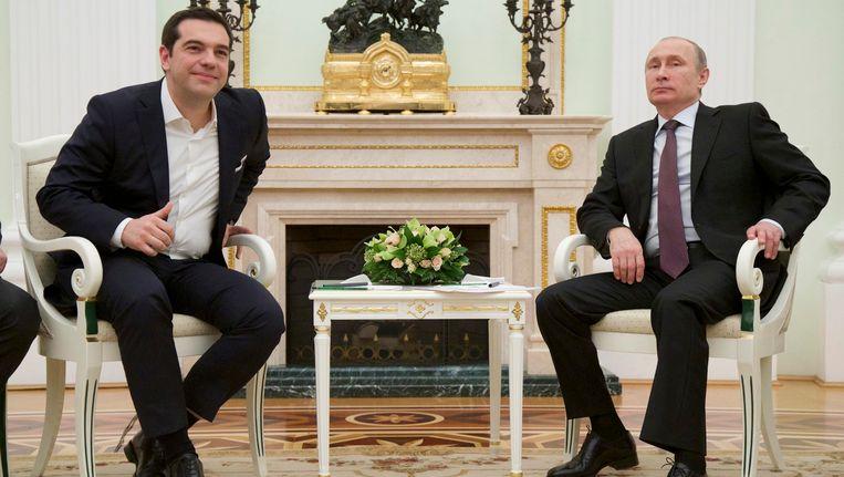 Tsipras en Poetin tijdens hun ontmoeting in Moskou. Beeld epa