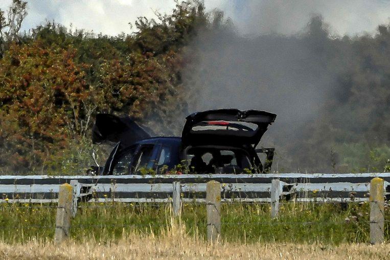 De verdachte sloeg op de vlucht in een BMW maar werd op de A16 nabij Marquise neergeschoten. Beeld afp