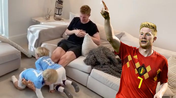 Kevin De Bruyne traint zijn beenspieren met behulp van zijn zoontjes (Instagram)