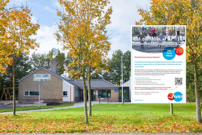 Het gebouw van CBS Op de Wieken in Tollebeek en de advertentie met de vacature voor nieuwe directeur.